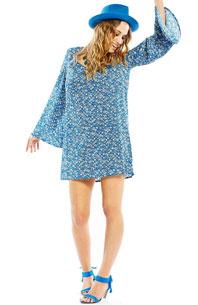 robe-manches-evasees-trapeze-bleu
